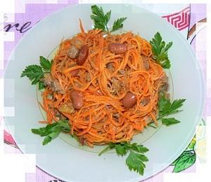 Салат с куриной печенью морковью и яблоками